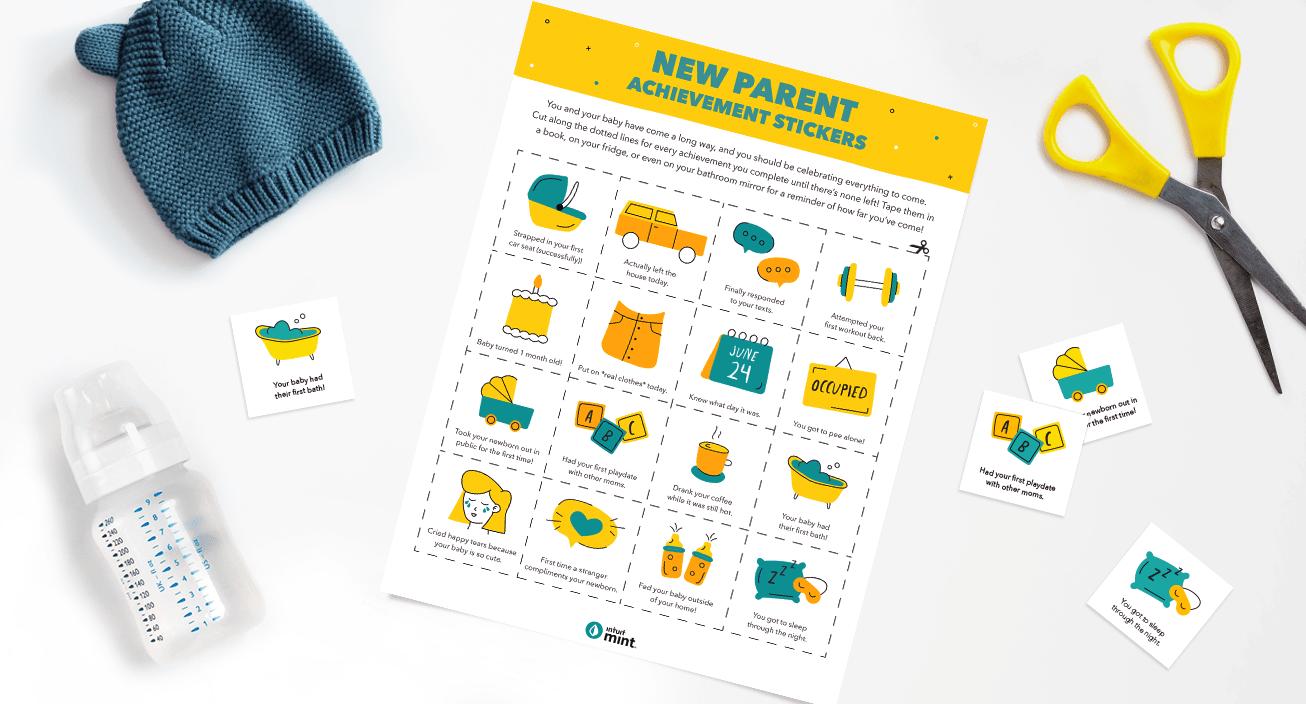 New Parent Achievement Stickers Mockup