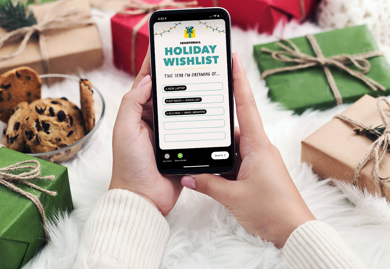 Mockup showing someone filling in their wishlist on instagram.