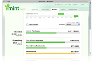 browser window showing Mint's budgets page