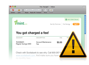 browser window showing a Mint alert saying you got charged a fee, plus a caution sign with exclamation mark overlaying the window