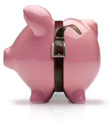 glossy pink ceramic piggy bank with a pants belt tightened around its body