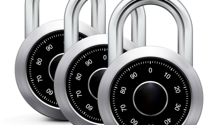 three identical large combination padlocks overlaid and offset from each other