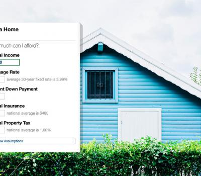 "picture of an small A-frame house painted sky blue, overlayed with a screenshot of the form used to create a ""Buy a Home"" goal"