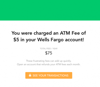 screenshot of an alert that says you were charged an ATM fee and showing total of ATM fees for the year